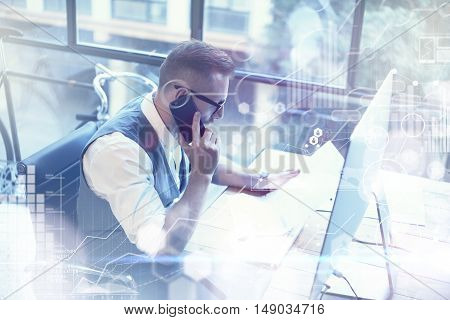 Concept Global Connection Virtual Icon Diagram Graph Interface Marketing Reserch.Bearded Businessman Making Great Business Decisions.Young Man Working Startup Desktop.Using Smartphone Call Partner
