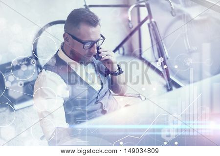 Concept Global Connection Virtual Icon Diagram Graph Interface Business Reserch.Bearded Businessman Making Great Work Decisions.Young Man Working Startup Desktop.Using Smartphone Call Partner.Blurred