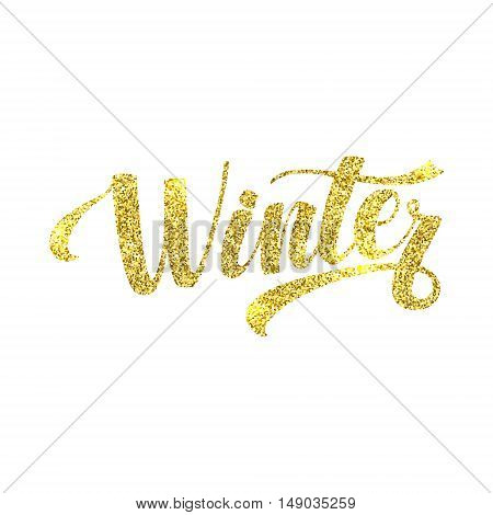 Winter Card. Golden Shiny Glitter. Lettering Poster Tamplate. White Background Glowing Illustration