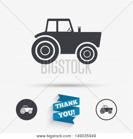 Tractor sign icon. Agricultural industry symbol. Flat icons. Buttons with icons. Thank you ribbon. Vector