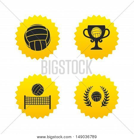 Volleyball and net icons. Winner award cup and laurel wreath symbols. Beach sport symbol. Yellow stars labels with flat icons. Vector
