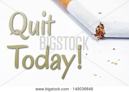 Quit Smoking Today Reminder With Broken Cigarette In Whitebox