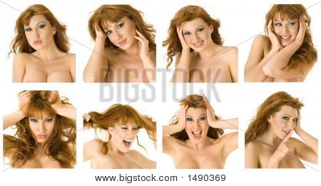 Beautiful Topless Redheaded Woman Changing Moods