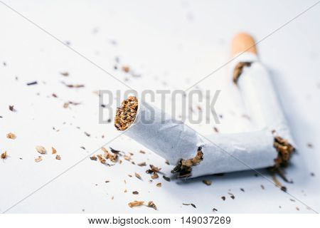 Broken Cigarette With Tobacco Pieces In White Box