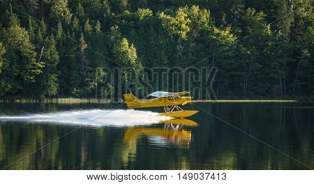 A Small yellow air plane on pontoons takes off from an Eastern Ontario lake on a summer's evening.