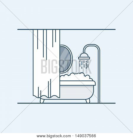 Modern interior design of a bathroom or shower room. Bathroom with foam and fenced mirror shutter. Vector illustration in a linear style, isolated on a gray background