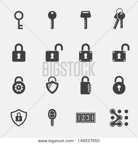 keys Lock sign and symbol vector icons