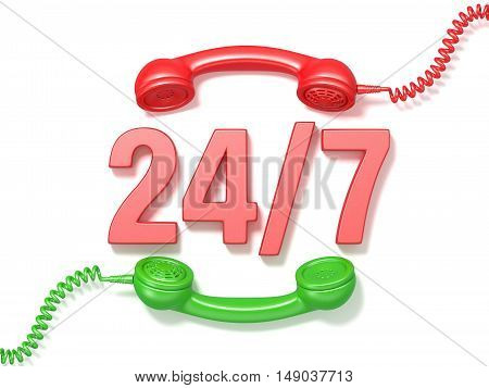 24 hours 7 days a week sign. Retro red and green phone receivers. 3D render illustration isolated on white background
