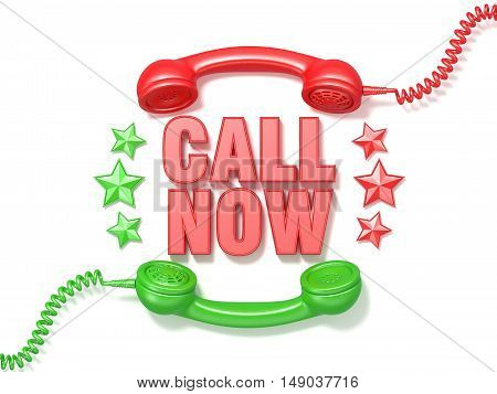 Call now sign. Retro red and green phone receivers and stars circular arranged. 3D render illustration isolated on white background