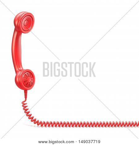 Red handset. 3D render illustration isolated on white background