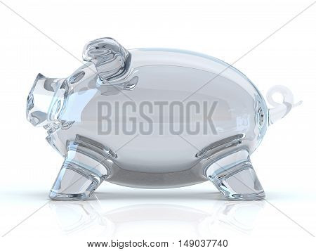 Empty glass piggy bank. 3D rendering illustration isolated on white background