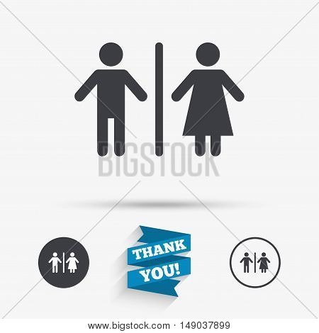 WC sign icon. Toilet symbol. Male and Female toilet. Flat icons. Buttons with icons. Thank you ribbon. Vector