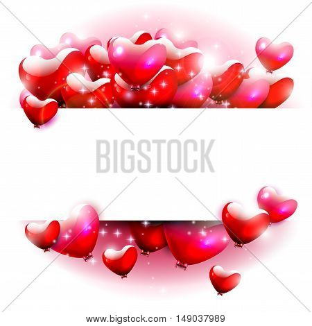 Red hearts on white background with place for text
