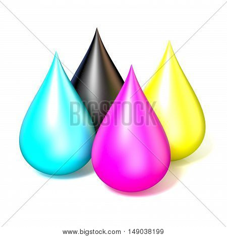 Four drops of printer ink. CMYK concept 3D rendering illustration isolated on white background