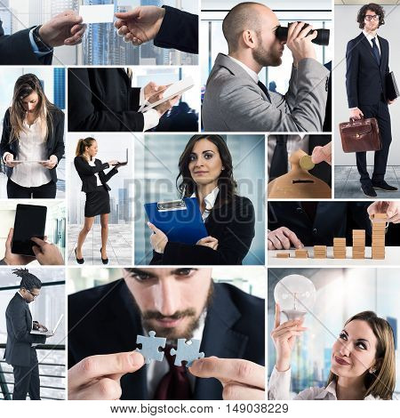 Composition of business photo concept with men and women