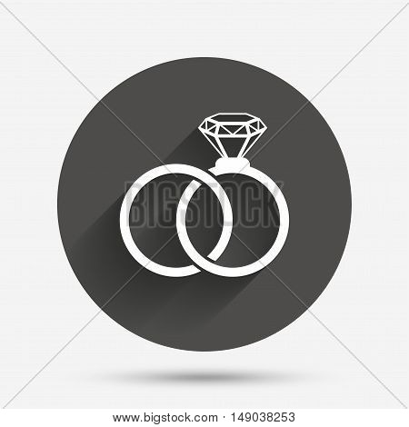 Wedding rings sign icon. Engagement symbol. Circle flat button with shadow. Vector