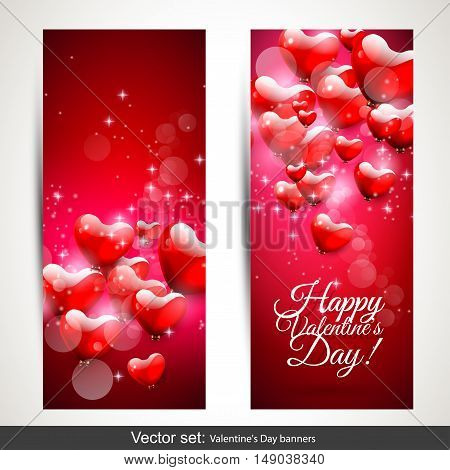Set of two vertical Valentine's Day red banners with flying hearts