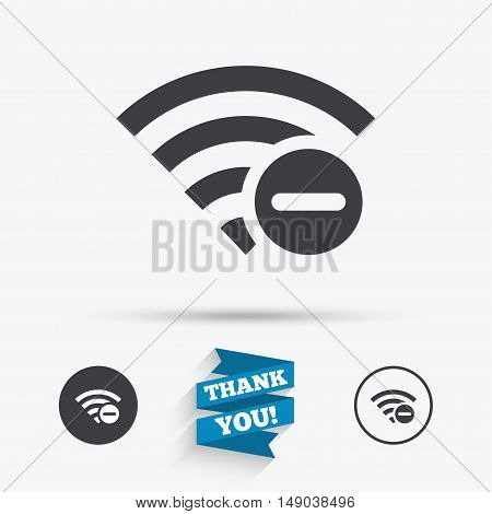 Wifi minus sign. Delete Wi-fi symbol. Wireless Network icon. Wifi zone. Flat icons. Buttons with icons. Thank you ribbon. Vector