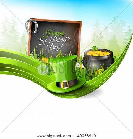 St Patrick's Day - background with green hat and old pot with coinsin grass - greeting card with copyspace