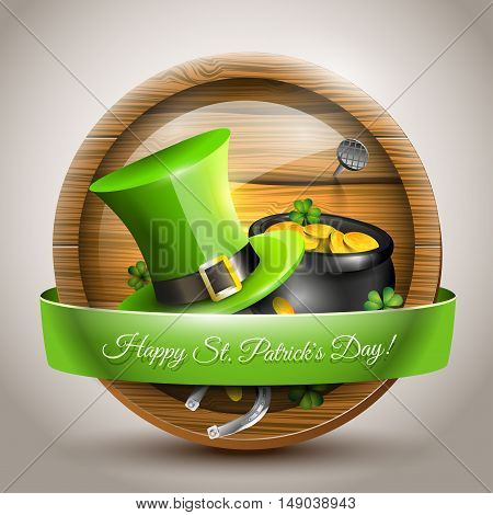 St Patrick's Day - vector icon with green hat and pot with coins in front of the beer barrel