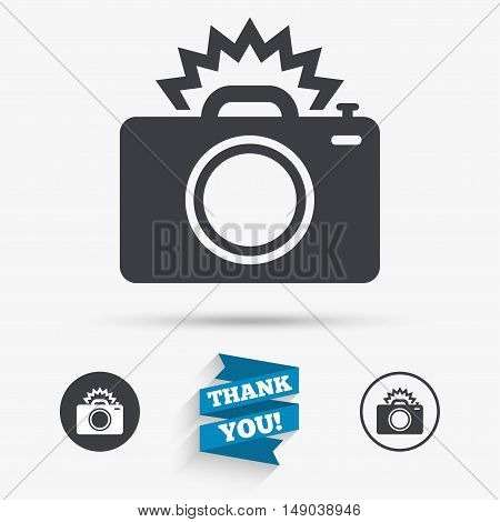 Photo camera sign icon. Photo flash symbol. Flat icons. Buttons with icons. Thank you ribbon. Vector