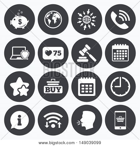 Calendar, wifi and clock symbols. Like counter, stars symbols. Online shopping, e-commerce and business icons. Auction, phone call and information signs. Piggy bank, calendar and smartphone symbols. Talking head, go to web symbols. Vector
