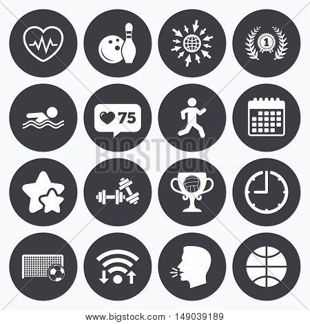 Calendar, wifi and clock symbols. Like counter, stars symbols. Sport games, fitness icons. Football, basketball and bowling signs. Swimming, runner and winner award symbols. Talking head, go to web symbols. Vector