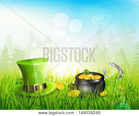 Hat and pot with coins in the grass - St. Patrick's Day background