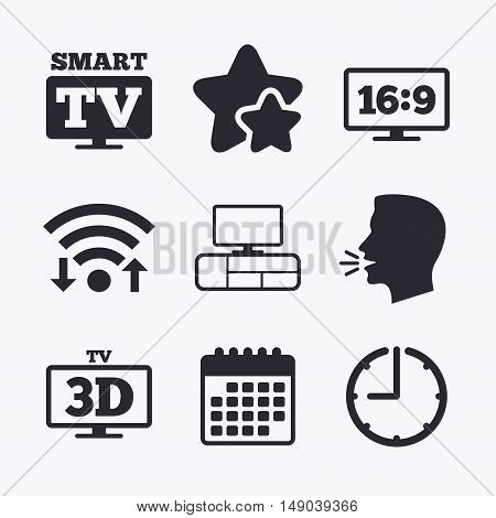 Smart TV mode icon. Aspect ratio 16:9 widescreen symbol. 3D Television and TV table signs. Wifi internet, favorite stars, calendar and clock. Talking head. Vector