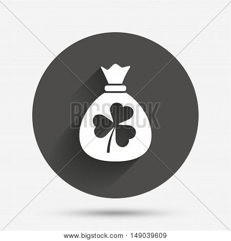 Money bag with three leaves clover sign icon. Saint Patrick trefoil shamrock symbol. Circle flat button with shadow. Vector