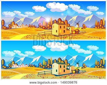 Stylized vector illustration on the theme of the village farming beautiful landscape of fields and mountains in autumn. Seamless horizontally if needed