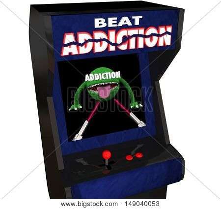 Addiction Fight Drug Alcohol Abuse Video Game Arcade 3d Illustration