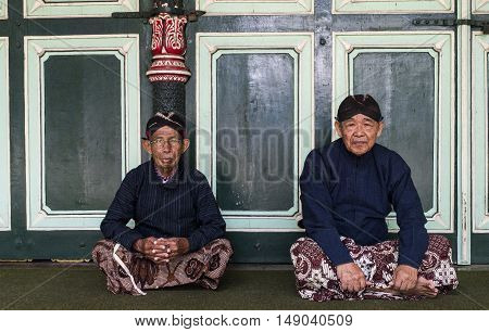 Yogyakarta Indonesia - APRIL 7, 2016 : Worker in traditional Javanese costume at Kraton Sultan Palace.