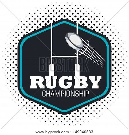 rugby championship ball flying and post goal vector illustration eps 10