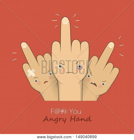 Vector cartoon middle finger with angry emotion faces. Provocation gesture symbol expression rudeness. Concept illustration on red backgroung.