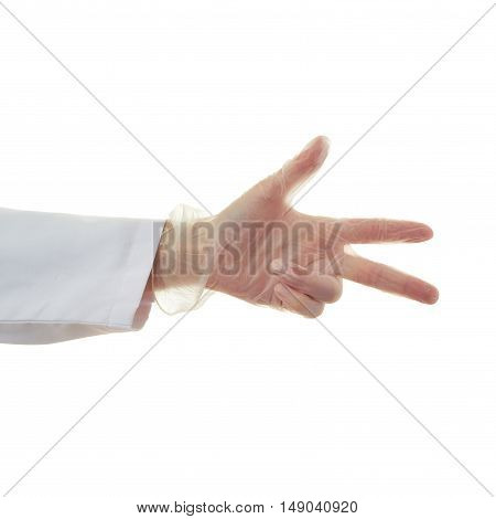 Doctor female hand in rubber glove gesture over white isolated background