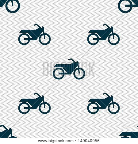 Motorbike Icon Sign. Seamless Pattern With Geometric Texture. Vector