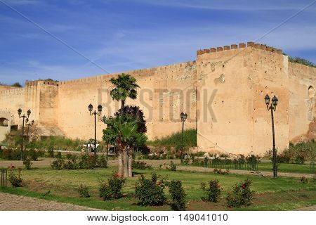 Old City wall in Meknes Morocco, Africa