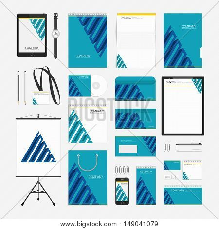 Classic stationery template design. Corporate identity template design with a blue color. Vector company style for brand book and guideline. Modern branding design concept. Documentation for business