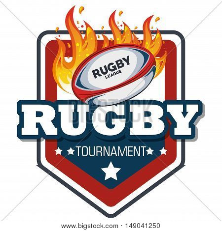 rugby label ball with flames design vector illustration eps 10