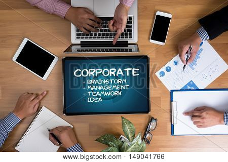 Corporate Process Business Strategy Management  Teamwork And Corporate