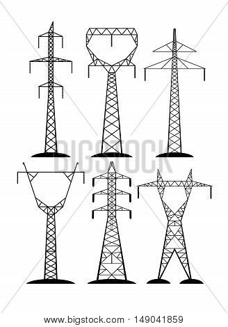 On the image it is presented high-voltage lines isolated on white background