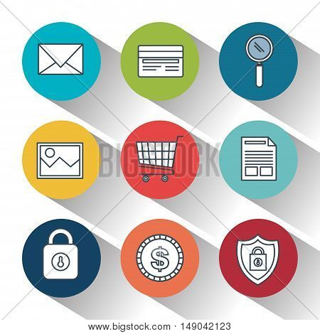 lock security online shop data design vector illustration eps 10