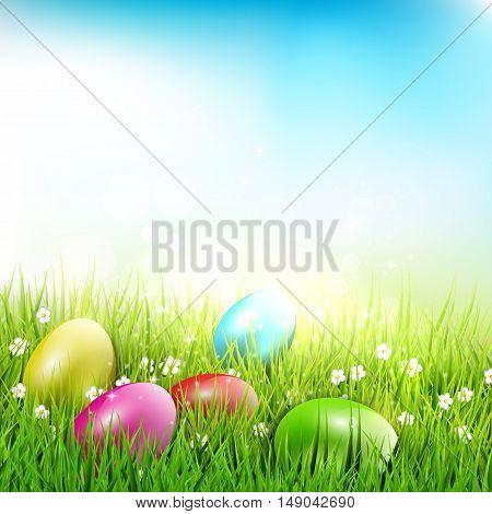 Easter eggs lying in the grass - Easter illustration