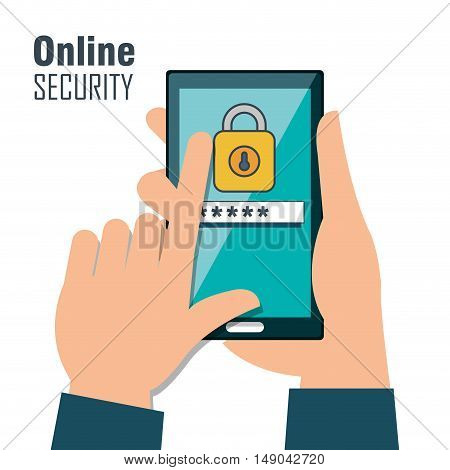 online security password lock design isolated vector illustration eps 10