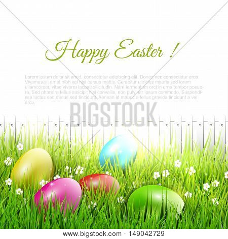 Easter eggs lying in the grass - Easter illustration with place for text