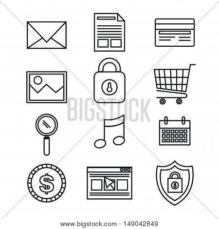 silhouette set icons protection security data design vector illustration eps 10