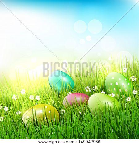 Sweet Easter eggs in the grass - Easter illustration