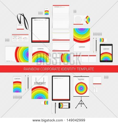 Bright corporate identity template with color elements. Business stationery mock-up with logo. Branding design. Universal brand book and guideline concept. Layout Company style in rainbow colors.