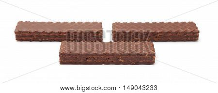 Chocolate Peanut Butter Wafer Cookies On A White Background